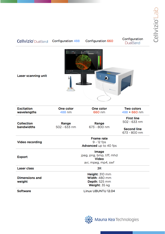 Cellvizio Lab technical sheets