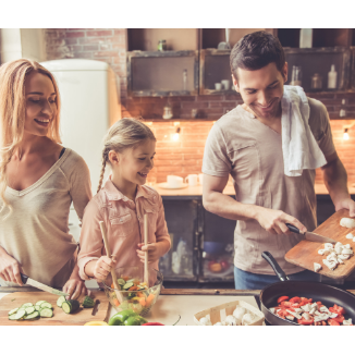 Happy cooking family